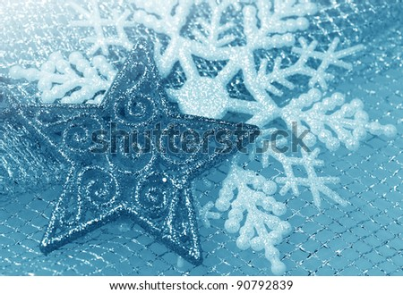 Illustration background with  with christmas decor - snowflakes - stock photo