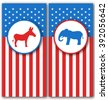 Illustration Banners with Donkey and Elephant as a Symbols Vote of USA. United States Political Parties - raster - stock vector