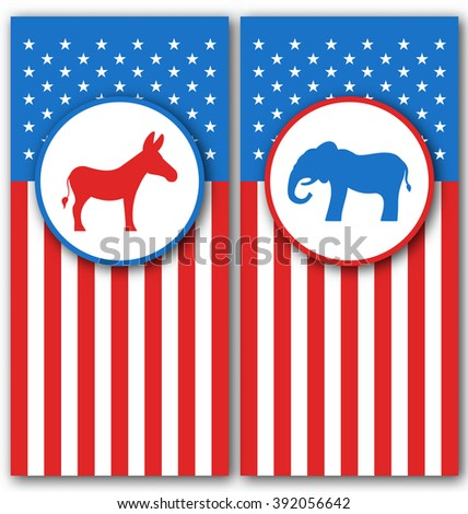 Illustration Banners with Donkey and Elephant as a Symbols Vote of USA. United States Political Parties - raster - stock photo