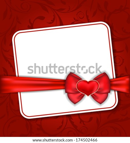 Illustration beautiful card for Valentine Day with red heart and bow - raster - stock photo