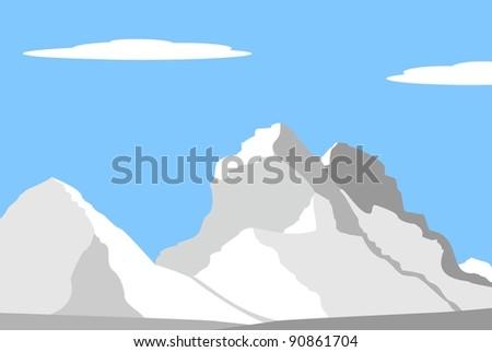 Illustration - Beautiful peaks in Alps - mountain landscape - stock photo