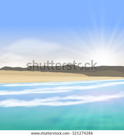 Illustration Beautiful Summer Landscape with Blue Ocean, Mountain, Shore and Far Clouds on Horizon - raster - stock photo