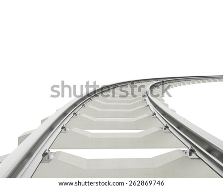 Illustration bend, turn railway isolated on white background. 3d high resolution image - stock photo