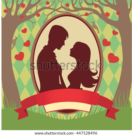 Illustration black silhouette of lovers embracing on a white background Couple in love  of man and woman lovers - stock photo