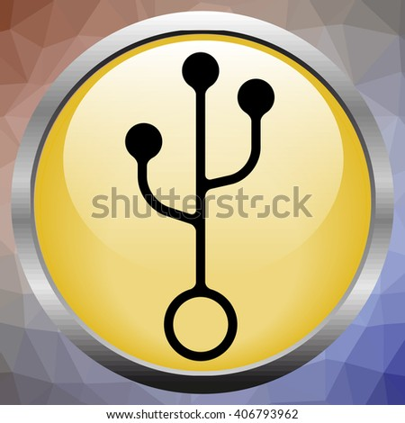 illustration black usb cord, cable, connector symbol - stock photo
