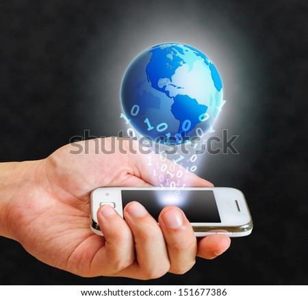 illustration blue globe floating from smart phone and binary number - stock photo