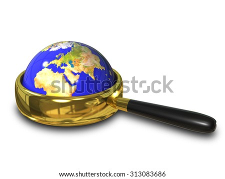 illustration blue Globe in the magnifying glass - stock photo