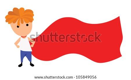 Illustration - Boy hero.Concept:I want to be hero. - stock photo