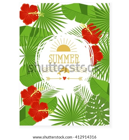 Illustration: branches and leaves of tropical plants. Floral background with space for text. Tropical flowers and leaves - hibiscus, palm tree, Monstera, plumeria. - stock photo