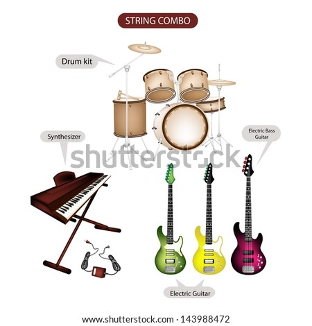 Illustration Brown Color Collection of Musical Instruments String Combo, Electric Guitar, Electric Bass Guitar, Synthesizer and Drum Kit in Retro Style   - stock photo