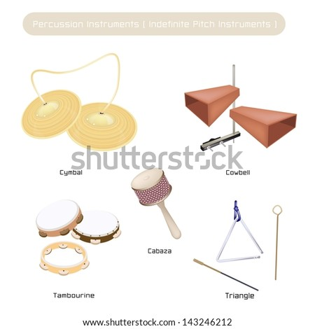 Illustration Brown Color Collection of Vintage Musical Indefinite Pitch Instruments, Cymbal, Cowbell, Tambourine, Musical Triangle and Cabasa Isolated on White Background  - stock photo