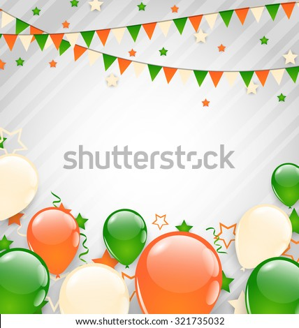 Illustration Buntings Flags Garlands and Balloons in Traditional Tricolor of Flag for Independence Day - raster - stock photo