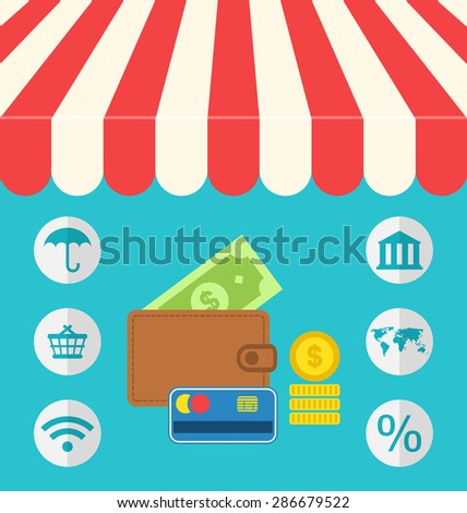 Illustration business concept flat icons set of online shopping and payment internet purchase - raster - stock photo
