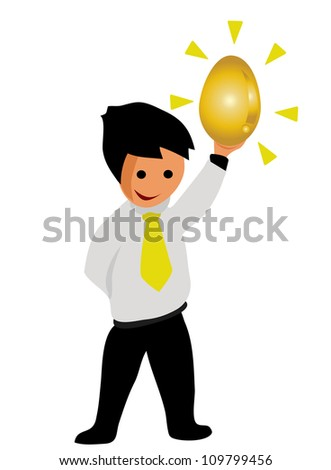 Illustration - Businessman and golden egg.He finding a golden egg. - stock photo