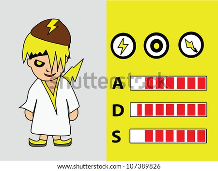 Illustration - Cartoon character.Hero of thunder with the power graph.attack,defend and speed. - stock photo