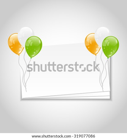 Illustration Celebration Card with Balloons in National Colors of Flag for Independence Day of India - raster - stock photo