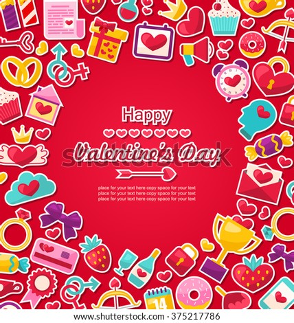 Illustration Celebration Postcard for Valentine's Day. Flat Valentine Icons, Cupid Arrows, Love Letter, Gender Symbols, Present, Strawberry, Candy - raster - stock photo