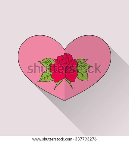 Illustration celebration romantic heart with flower rose for Valentine Day - raster - stock photo