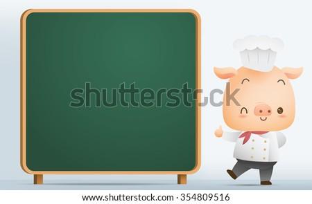 Illustration Chef Pig with blank blackboard - stock photo