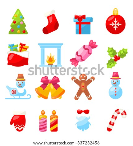 Illustration Christmas and New Year Traditional Elements, Minimalism Style - raster - stock photo