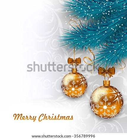 Illustration Christmas Background with Glass Balls and Fir Branches - raster - stock photo