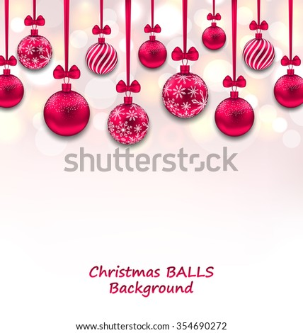 Illustration Christmas Background with Pink Glassy Balls with Bow Ribbon, Shiny Background - raster - stock photo
