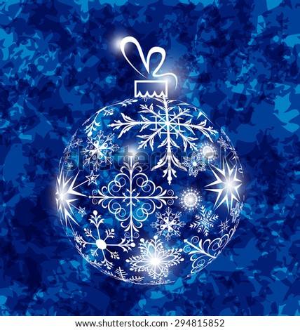 Illustration Christmas ball made in snowflakes on grunge background - raster