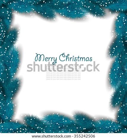 Illustration Christmas Border Made in Lush Fir Branches - raster - stock photo