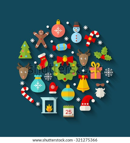 Illustration Christmas Colorful Objects and Elements in Round Frame, Flat Icons with Long Shadows - raster - stock photo