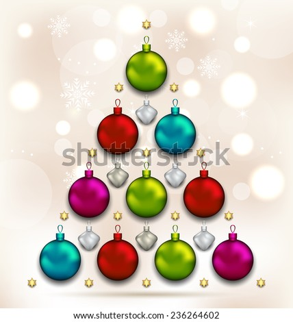 Illustration Christmas decoration holly berry branches on wooden background - stock photo