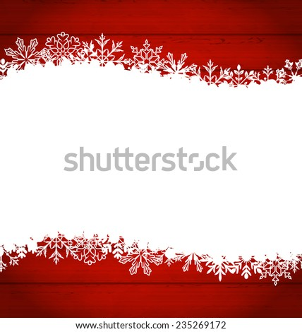 Illustration Christmas frame made of snowflakes with copy space for your text - raster - stock photo