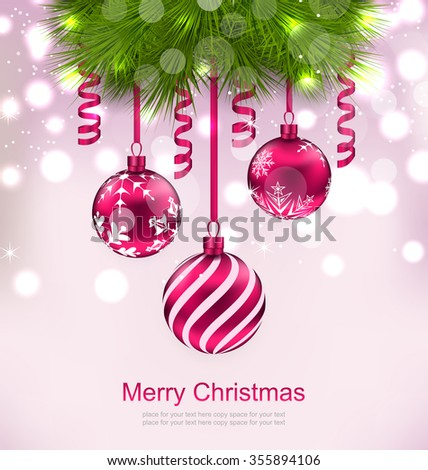 Illustration Christmas Invitation with Fir Twigs and Glass Balls - raster - stock photo