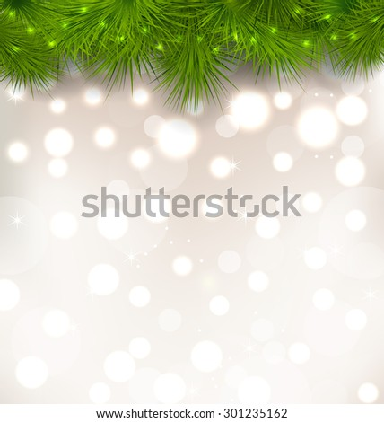 Illustration Christmas light background with realistic fir twigs - raster - stock photo