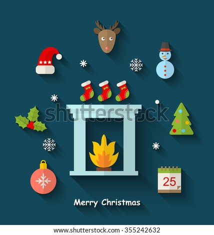 Illustration Christmas Minimal Objects and Elements with Long Shadows - raster - stock photo