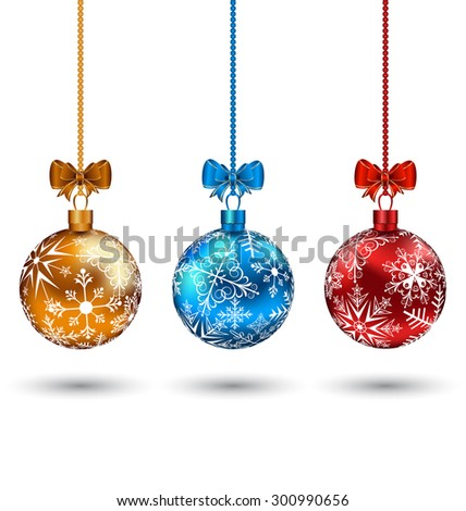 Illustration Christmas multicolor balls with bows isolated on white background - raster - stock photo