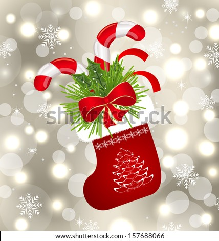Illustration Christmas sock with sweet canes - raster - stock photo