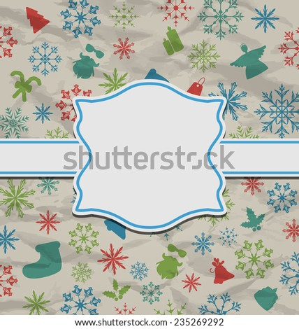 Illustration Christmas vintage card on texture with traditional elements - raster - stock photo