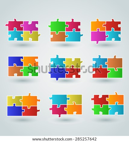 Illustration collection abstract colorful puzzle pieces - raster - stock photo