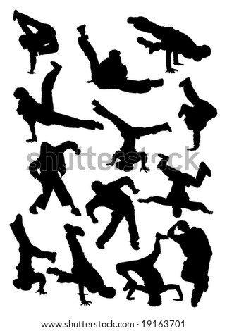 illustration. Collection silhouette of  breakdancer