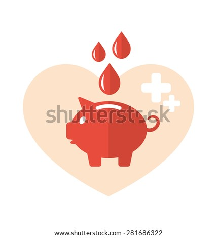 Illustration concept flat medical icons of piggy bank as blood donation - raster - stock photo