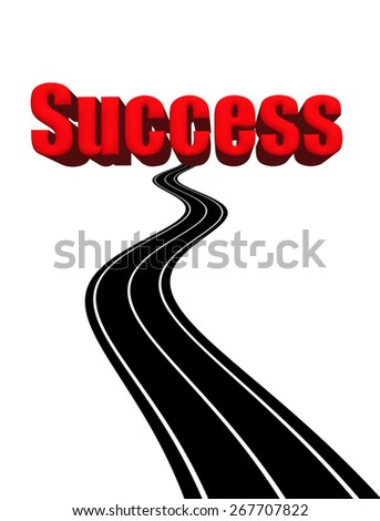 Illustration concept for the road to success. - stock photo