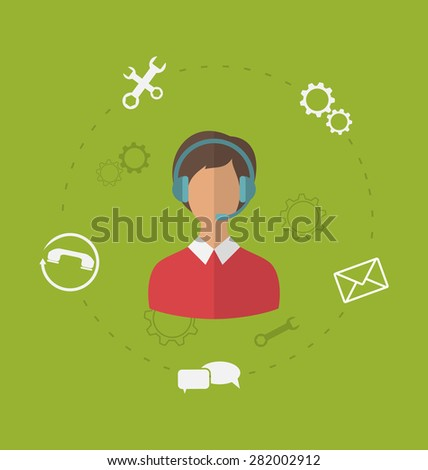 Illustration concept of business customer care service, modern flat icons of contact us support help desk phone call - raster - stock photo