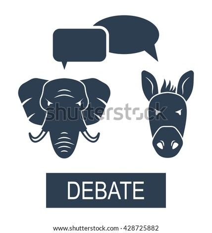 Illustration Concept of Debate Republicans and Democrats. Donkey and Elephant as a Symbols Vote of USA - raster - stock photo