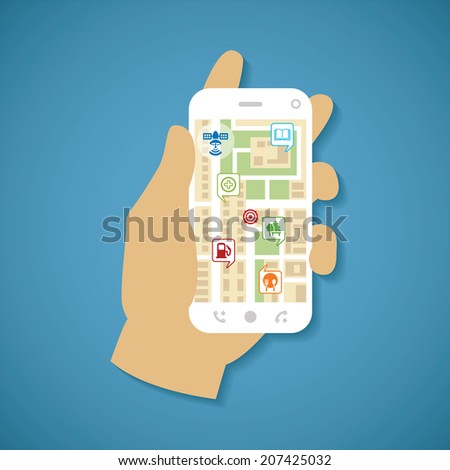 Illustration concept of man holding smartphone in hand with gps navigation. Rasterized bitmap version. - stock photo
