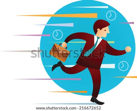 Illustration concept of man running in hurry - stock photo