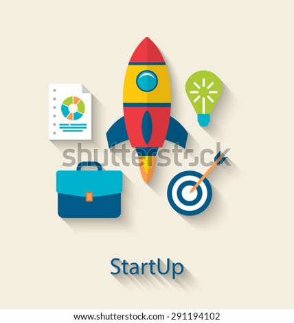 Illustration Concept of New Business Project Startup Development, Flat simple Colorful Icons with Long Shadows Style - raster - stock photo
