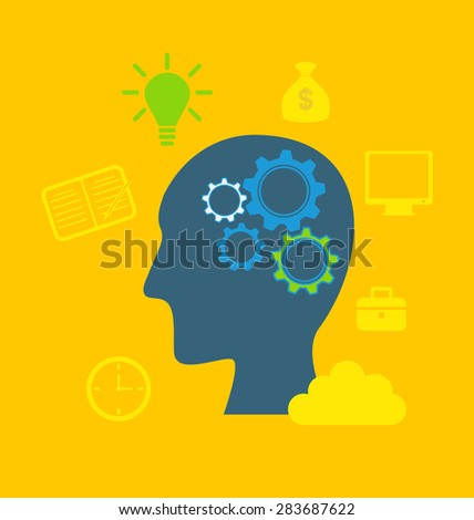 Illustration concepts of intelligence, intellectual work, productivity, creativity, efficiency - raster
