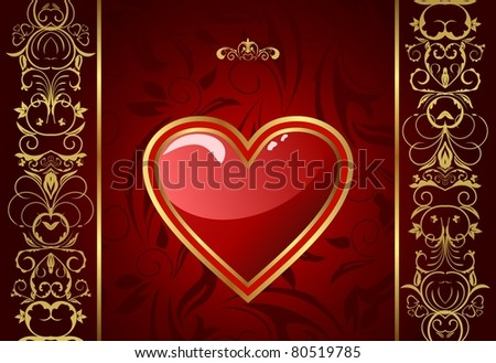 Illustration creative Valentine greeting card with heart - raster