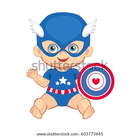 Illustration cute baby boy in the costume of a superhero. Raster copy.  sc 1 st  Shutterstock & Illustration Cute Baby Boy Costume Superhero Stock Illustration ...