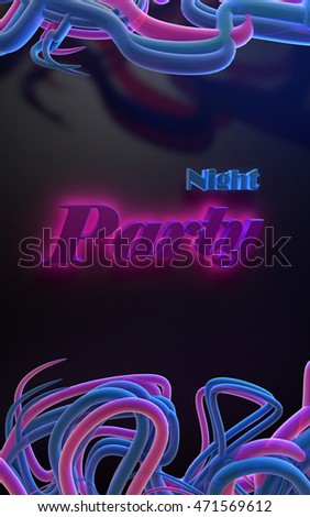 "Illustration 3D - Advertising poster with text ""Night Party"""